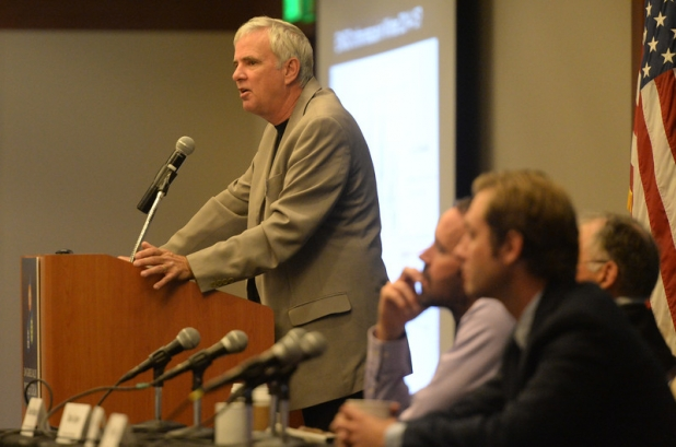 Professor Glen MacDonald of UCLA's Institute of the Environment and Sustainability speaks during The San Gabriel Valley Water Forum in Pomona, Ca., October 2, 2014. (Photo by John Valenzuela/ Inland Valley Daily Bulletin)