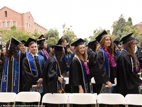Brand-new UCLA graduates about to march out