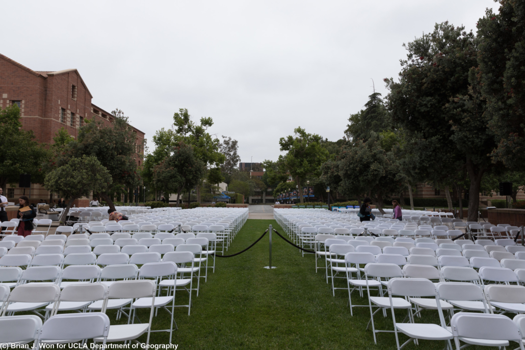 Photo of empty chairs arrayed in Powell Courtyard