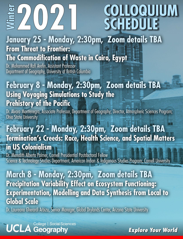 list of winter colloquium 2021