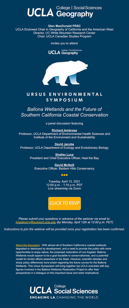 ursus environmental symposium: ballona wetlands and the future of southern california coastal conservation